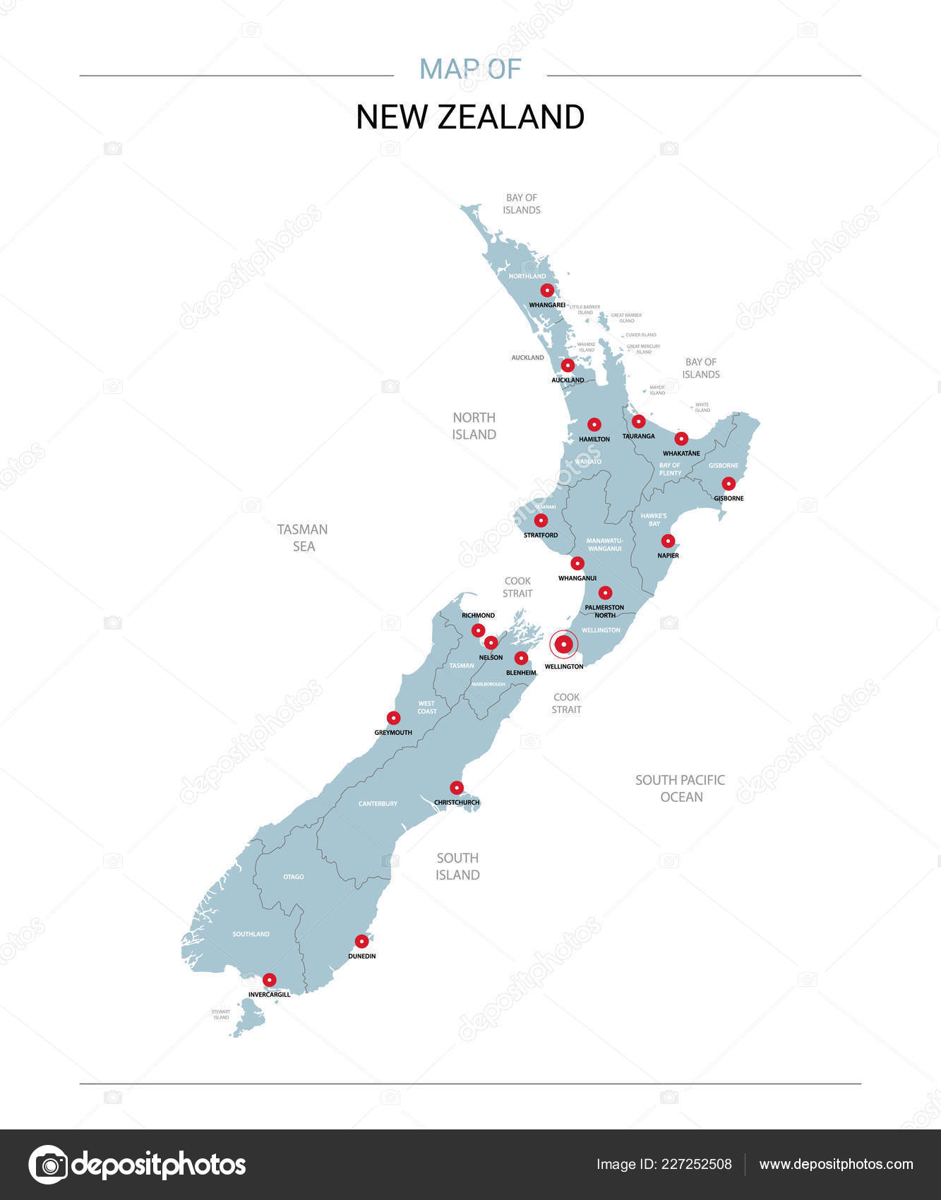Map New Zealand Regions.New Zealand Vector Map Editable Template Regions Cities Red Pins