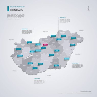 Hungary vector map with infographic elements, pointer marks. Editable template with regions, cities and capital Budapest.