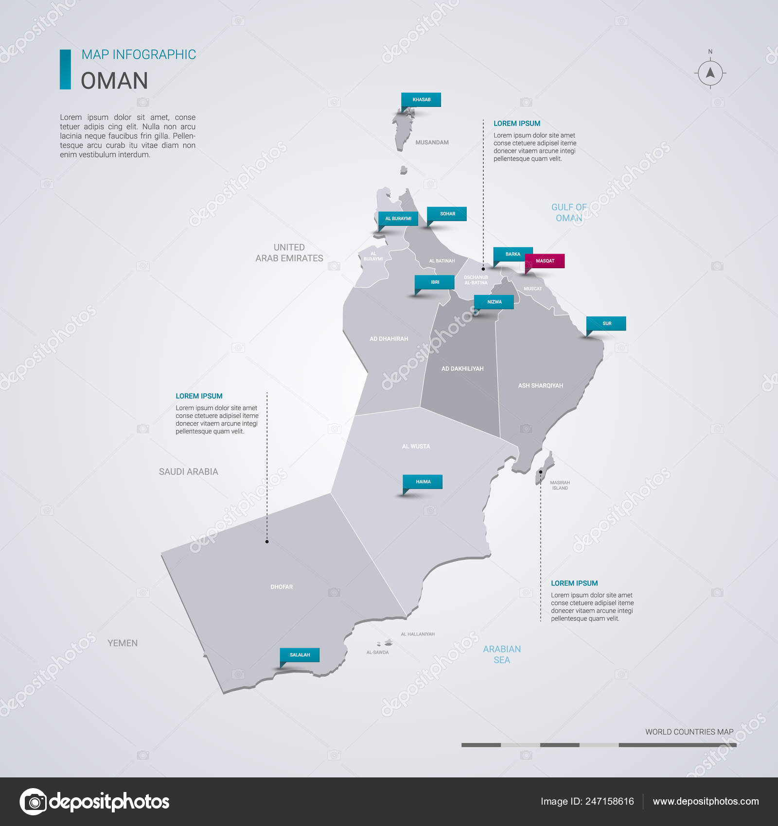 Oman Vector Map Infographic Elements Pointer Marks Editable