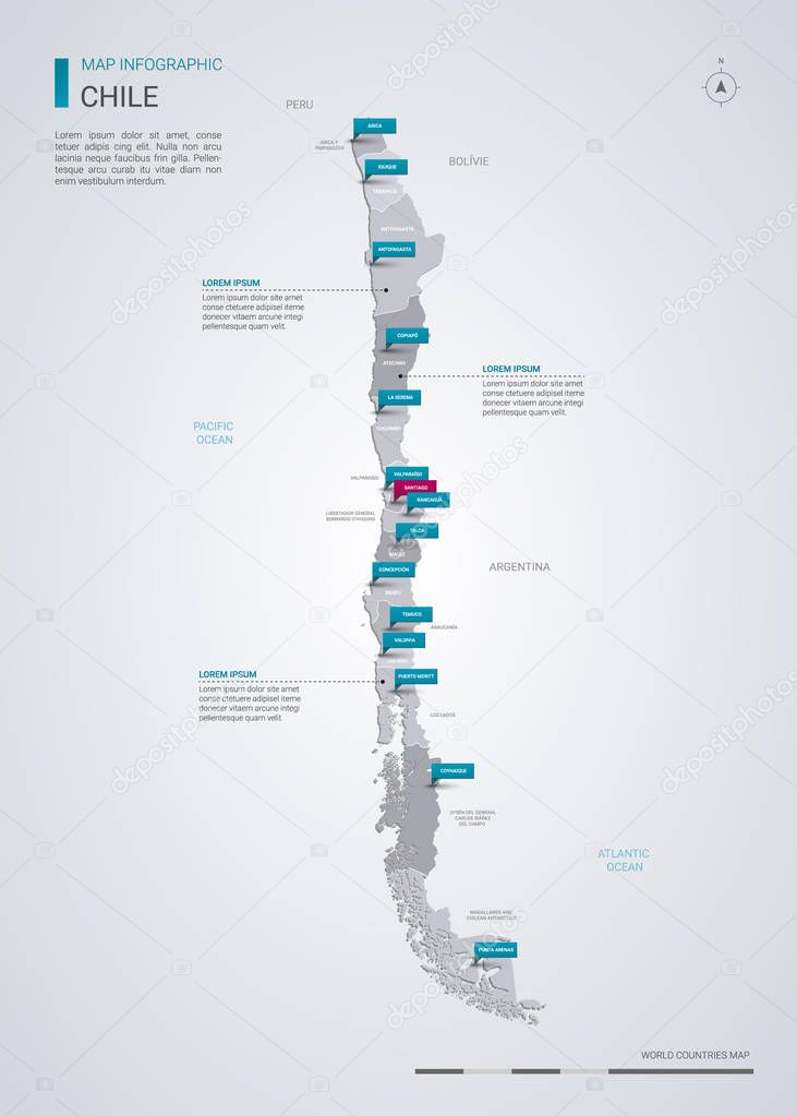 Chile Vector Map With Infographic Elements Pointer Marks Editable Template With Regions Cities And Capital Santiago Premium Vector In Adobe Illustrator Ai Ai Format Encapsulated Postscript Eps Eps Format