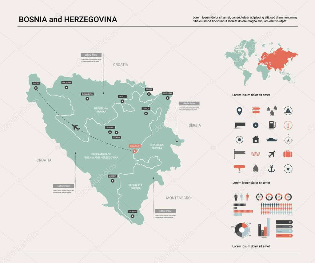 Picture of: Vector Map Of Bosnia And Herzegovina High Detailed Country Map With Division Cities And Capital Sarajevo Political Map World Map Infographic Elements Premium Vector In Adobe Illustrator Ai Ai