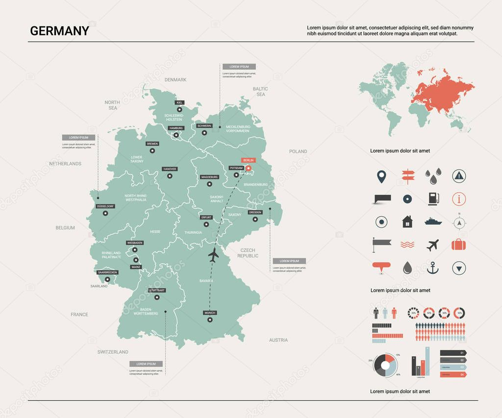 Vector Map Of Germany High Detailed Country Map With Division Cities And Capital Berlin Political Map World Map Infographic Elements Premium Vector In Adobe Illustrator Ai Ai Format Encapsulated