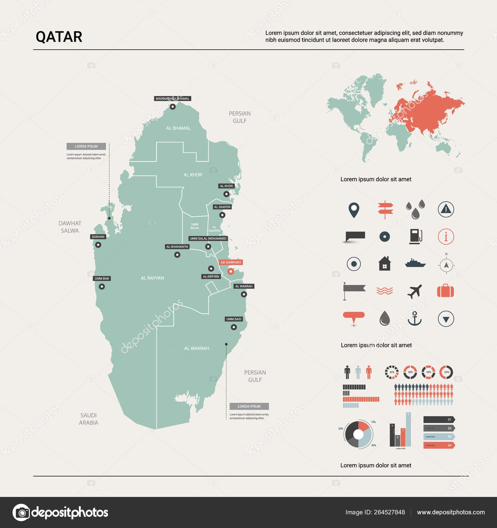 Vector map of Qatar. — Stock Vector © molokowall #264527848