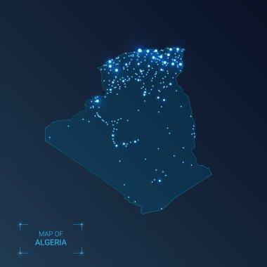 Algeria map with cities. Luminous dots - neon lights