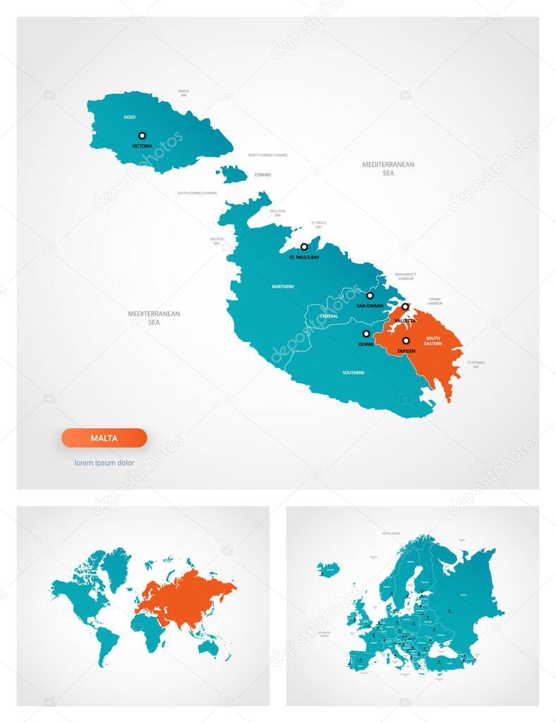 Picture of: Editable Template Of Map Of Malta With Marks Malta On World Map And On Europe Map Premium Vector In Adobe Illustrator Ai Ai Format Encapsulated Postscript Eps Eps Format