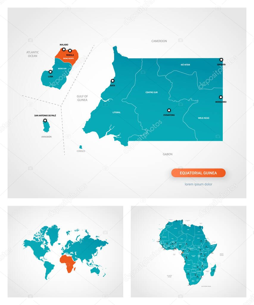 Picture of: Editable Template Of Map Of Equatorial Guinea With Marks Equatorial Guinea On World Map And On Africa Map Premium Vector In Adobe Illustrator Ai Ai Format Encapsulated Postscript Eps Eps Format