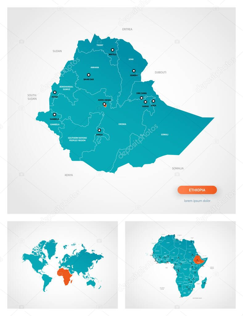 Editable Template Of Map Of Ethiopia With Marks Ethiopia On World Map And On Africa Map Premium Vector In Adobe Illustrator Ai Ai Format Encapsulated Postscript Eps Eps Format