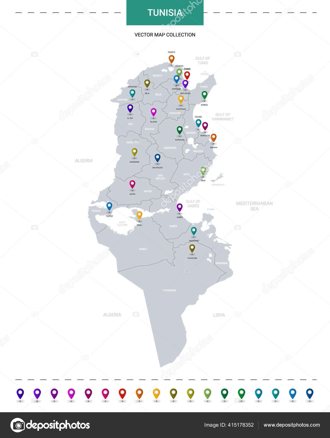 Picture of: Tunisia Map Pin Imagenes Vectoriales Ilustraciones Libres De Regalias De Tunisia Map Pin Depositphotos