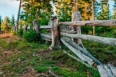 Wooden fence on the mountains