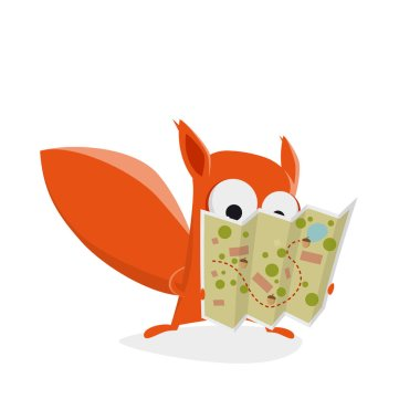 funny cartoon squirrel holding a treasure map with nuts
