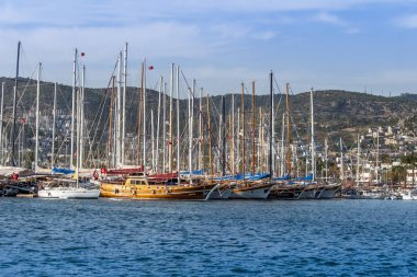 Bodrum, Turkey, 21 May 2011: Gulet Wooden Sailboats at Bodrum Ma