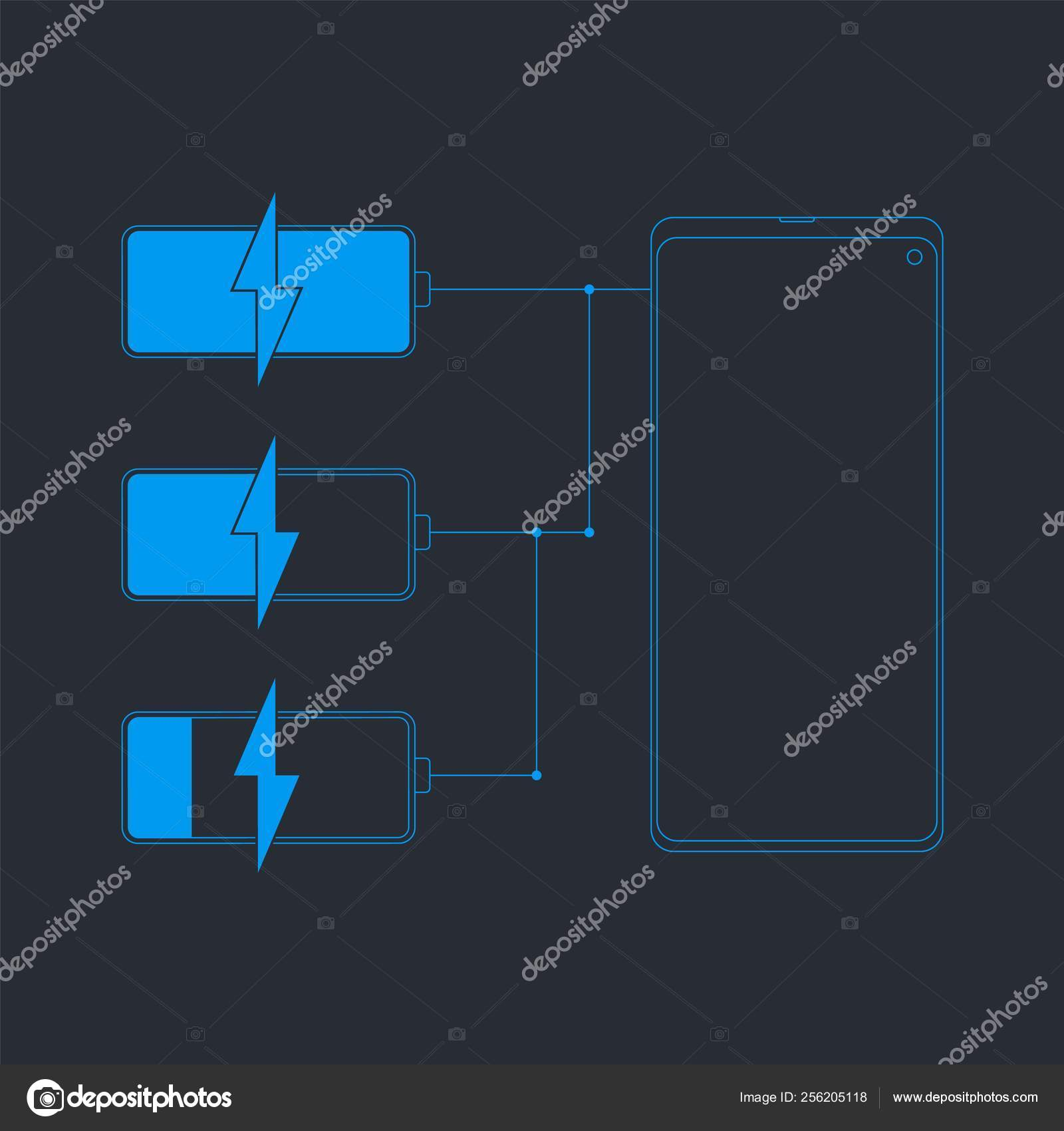 Battery charge line icon  Frameless phone with different