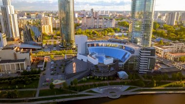 Russia, Ekaterinburg - June 7, 2018: Yeltsin center in the city of Yekaterinburg, From Dron