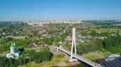 Město Ťumeň, nábřeží řeky Tura, mostu milenců. Rusko, Ťumeň, od Dron