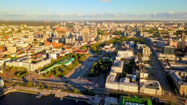Embankment of the central pond and Plotinka. The historic center of the city of Yekaterinburg, Russia, From Dron
