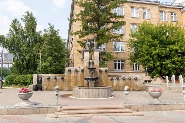 Russia, Krasnoyarsk - July 23, 2018: Fountain - Valentine and Valentine. The popular name is Adam and Eve