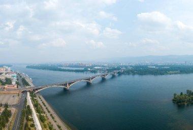 Russia, Krasnoyarsk. General Aerial View of the Communal Bridge over the Yenisei River