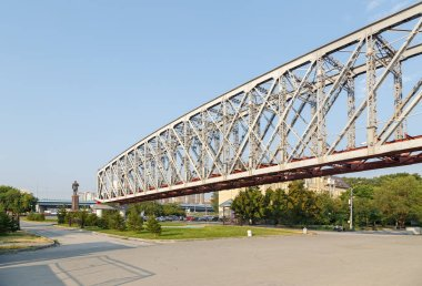 Russia, Novosibirsk. Railway Bridge. Fragment of the first railway bridge across the Ob River