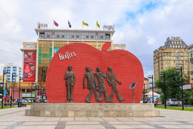 Mongolia, Ulaanbaatar - August 08, 2018: The Monument to the Beatles Group is located in the center of the capital of Mongolia, in the park next to the Central Department Store Ulaanbaatar