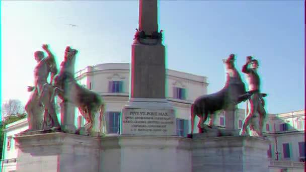 Glitch hatása. Szobrászati együttes Dioscuri. Plaza del Quirinale. Rome, Olaszország. Videó. UltraHD (4k)