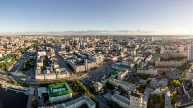 Panorama at sunset. The center of the city of Ekaterinburg. Russ