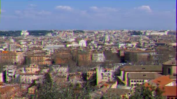 Škubnutí. Panorama Říma. Pohled z Passeggiata del Gianikolo. Řím, Itálie. Video. UltraHD (4k)