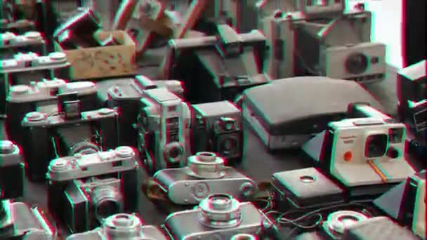 Glitch effect  Old camera on the counter  Rome, Italy - February 22, 2015:  counter in the center of the tourist Rome  Video