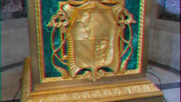 Glitch-Effekt. Wappen in der Basilika St. Paul außerhalb der Mauern. rom, italien. Video