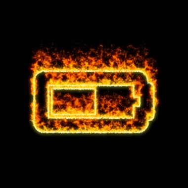 The symbol battery half burns in red fire