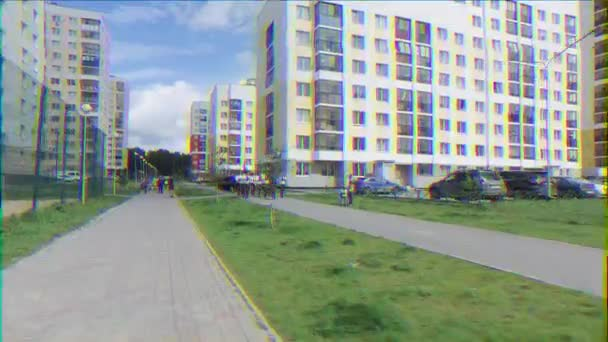 EKATERINBURG, RUSSIA - JULY 30TH, 2016: Opening of the monument to sailors. Cadets marching behind war arkestrom. Glitch effect. UltraHD (4K)