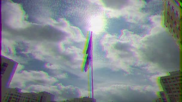 EKATERINBURG, RUSSIA - JULY 30TH, 2016: Opening of the monument to sailors. flags of Russia and the Military Navy. Glitch effect. UltraHD (4K)