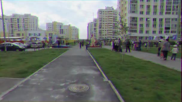 EKATERINBURG, RUSSIA - JULY 30TH, 2016: Opening of the monument to sailors. New District Akademichesky. Figrua sailor under the covers. Glitch effect. UltraHD (4K)