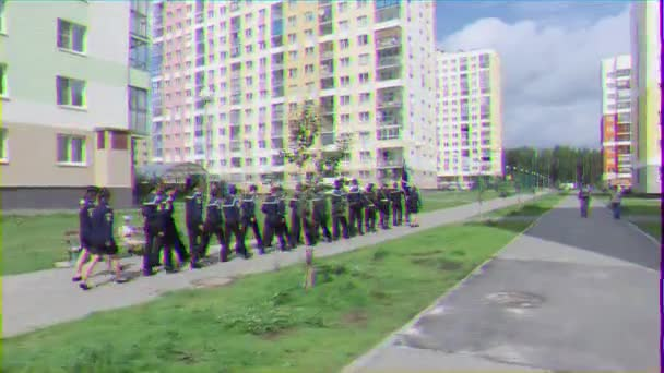 EKATERINBURG, RUSSIA - JULY 30TH, 2016: Opening of the monument to sailors. Cadets are trained to march. Glitch effect. UltraHD (4K)