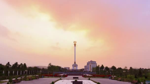 Glitch effect. 15 August 2014,  Dushanbe, Tajikistan. Tajikistan Emblem of with a diameter of 5 meters, mounted on 45-meter pedestal. Video. UltraHD (4K)