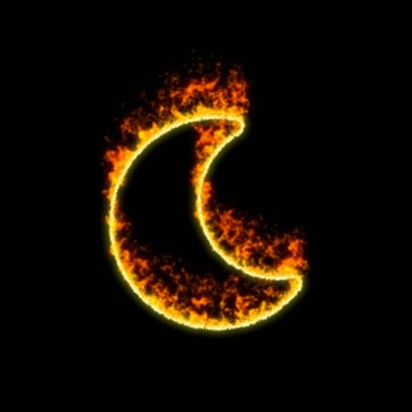 The symbol moon burns in red fire