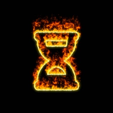 The symbol hourglass half burns in red fire