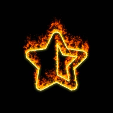 The symbol star half burns in red fire