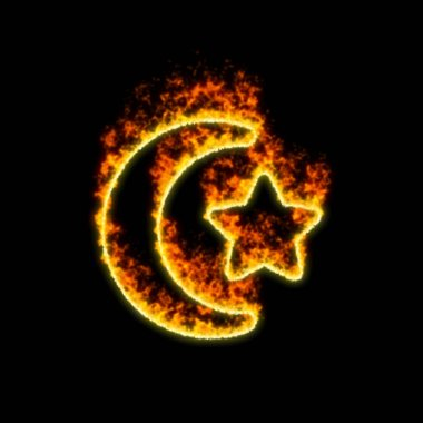 The symbol star and crescent burns in red fire
