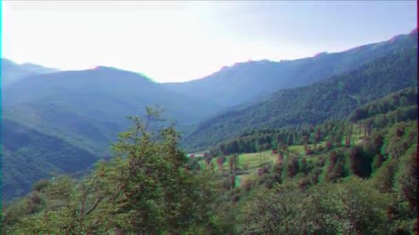 Glitch effect. Mountains around the Olympic Village. Russia, Sochi. Video. UltraHD (4K)