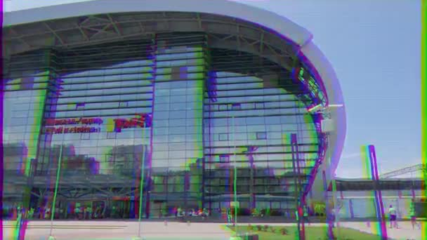 Glitch effect. Adler Train Station. Sochi, Russia - July 15, 2015: Construction of the new building is completed in 2013. October 28, 2013 in the presence of Russian President Vladimir Putin. Video. UltraHD (4K)