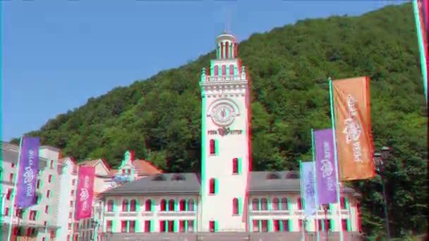 Glitch hatása. Rosa Khutor, Clock Tower, Sochi, Oroszország-július 14, 2015: helyszín téli olimpiai játékok 2014. Videóinak. UltraHD (4k)