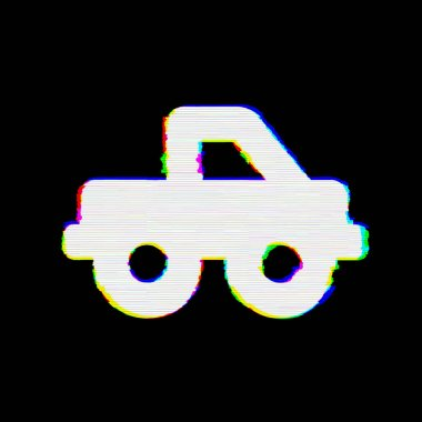 Symbol truck pickup has defects. Glitch and stripes
