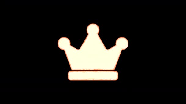 Symbol crown burns out of transparency, then burns again. Alpha channel Premultiplied - Matted with color black