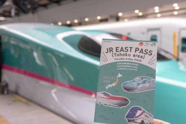 TOKYO, JAPAN - October 24 2018: JR EAST PASS (Tohoku area), with the Hayabusa Shinkansen at background. Flexible 5 Day Pass Tohoku Area Tourist Pass. Unlimited rides on limited express of JR lines for visiting Sendai, Fukushima, Yamagata, Akita and A