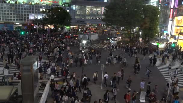 Shibuya Crossing is one of the busiest crosswalks in the world. Pedestrians crosswalk at Shibuya district. Tokyo, Japan