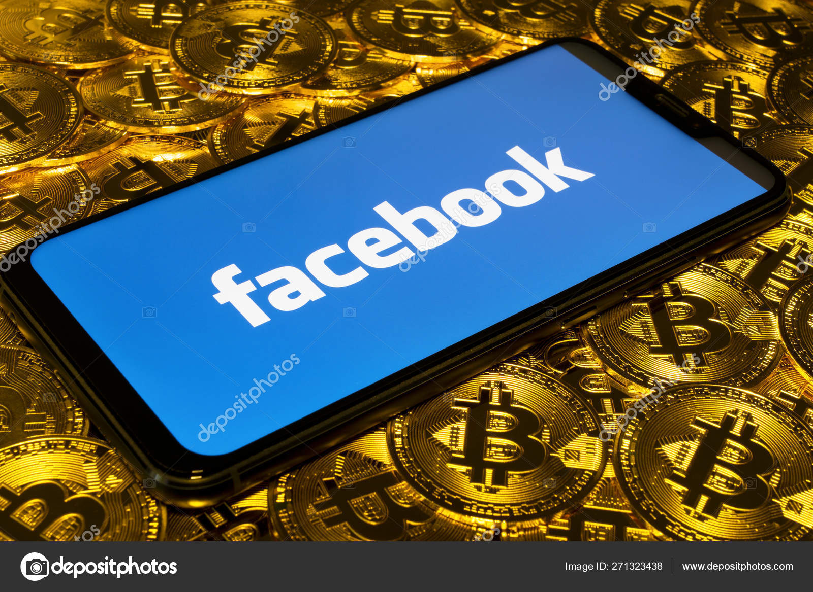 Gold Bitcoin Coins Pile Background Facebook Logo Smartphone