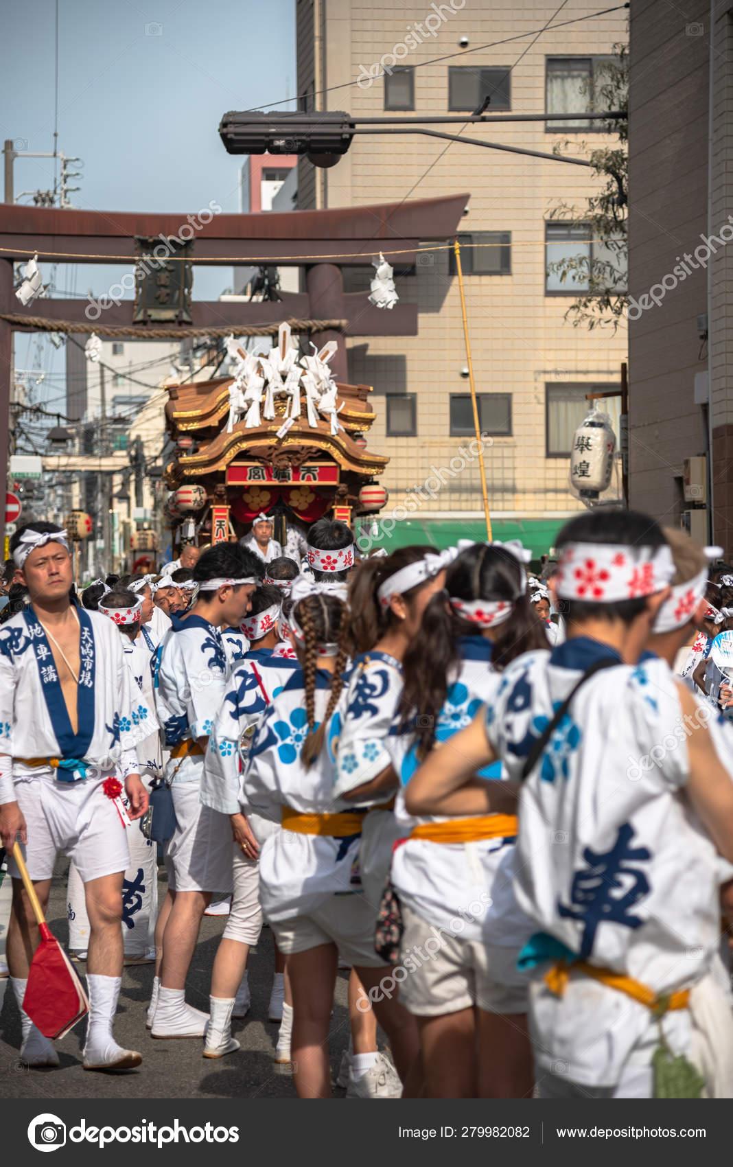 Osaka, Japan - July 25 2018 : Tenjin Festival of Osaka with thousand