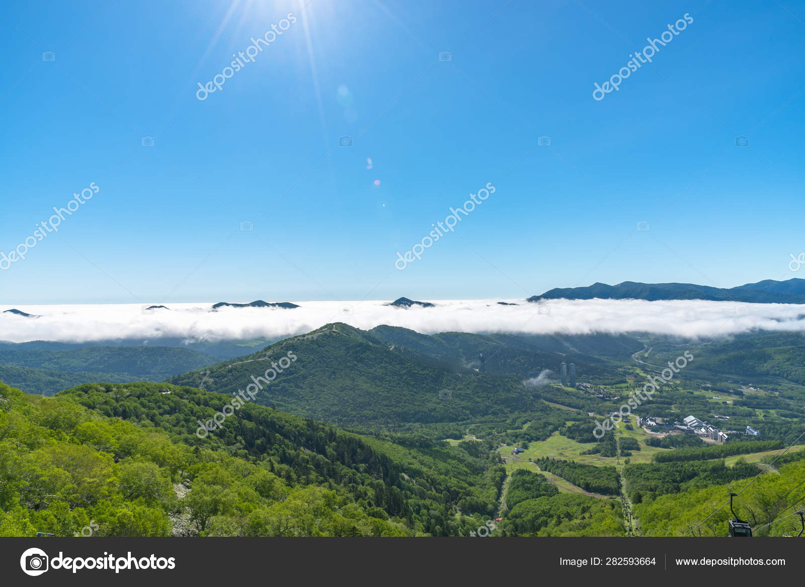 Panorama View From Unkai Terrace In Summer Time Sunny Day
