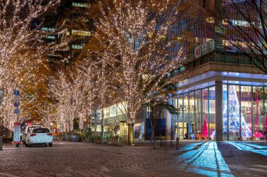 Tokyo, Japan - Dec 19 2018 : Tokyo Marunouchi winter illumination festival, famous romantic light up events in the city, beautiful view, popular tourist attractions, travel destinations for holiday