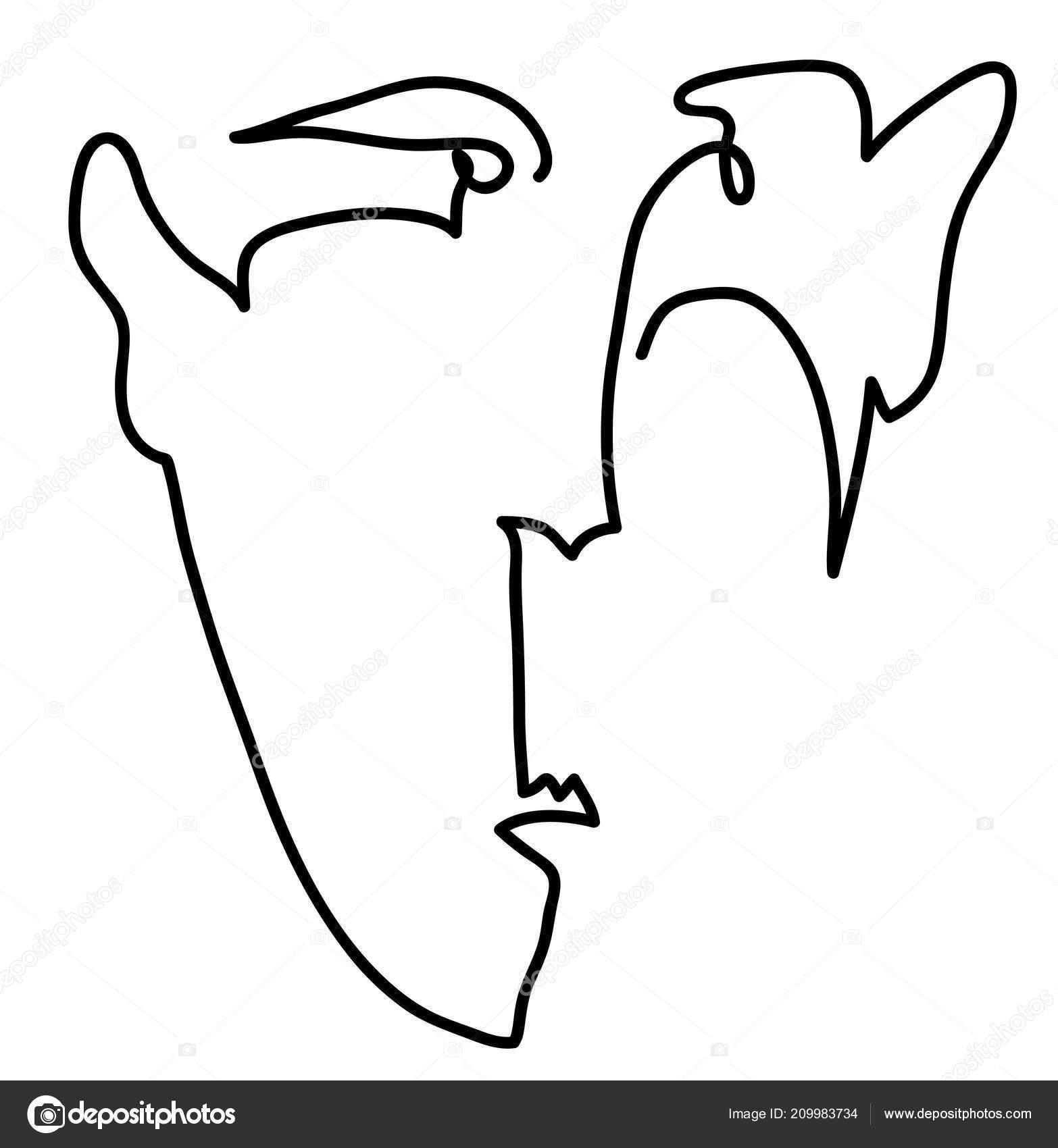 Muz Face Simple Kresba Cloveka Tvare Stock Fotografie